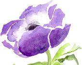 Anemone blu fiore acquerello Giclee Print, opere d'arte floreali acquerello,