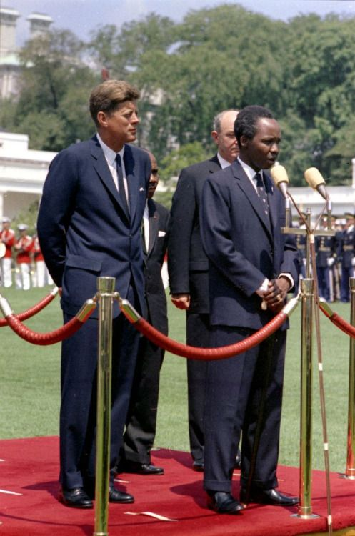 President John F Kennedy with President of Tanganyika, Julius Nyerere at the White House, July 15, 1963.