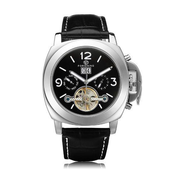 Forsining Flywheel 3 Dial Week Calendar Leather Mechanical Mens Watch #Forsining #Casual