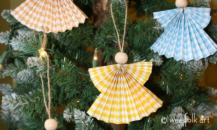 Create beautiful Paper Fan Angels with just a piece of paper, a small bead, and some twine. It only takes minutes to make a heavenly host for your tree!