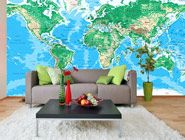 Best 25 world map wall decal ideas on pinterest world map decal world topography map wall mural in room gumiabroncs Image collections