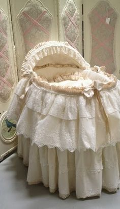 Angela Lace-moses basket covered with layers of lace and cotton