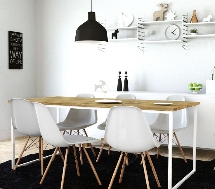 Scandinavian dining room. Lovely and simple. Dining room table Basic TRE is made of oak wood and steel.