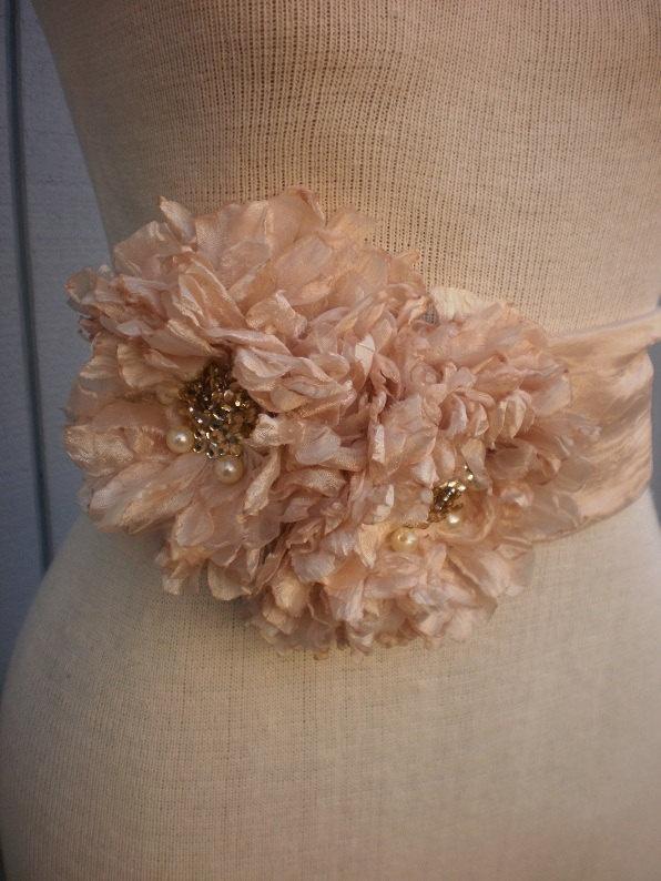 Bridal Sash With two  Unique Design Flowers. $65.00, via Etsy.