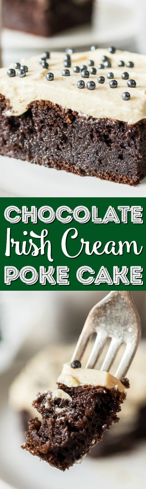 Chocolate Irish Cream Cake is made with a generous dose of Irish cream and topped with a fluffy, pudding-based frosting. This grown-up dessert is moist, rich, and oh-so-boozy! #irishcream #chocolate #cake #alcohol #stpatricksday