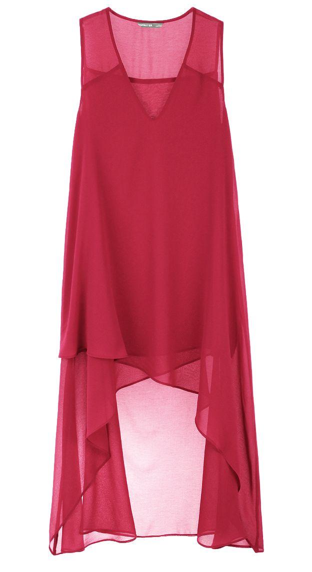 Taobao - Benzersiz asimetrik dikiş gevşek siyah şifon elbiseler, derin erik kırmızı İÇİNDE etek YENİ yelek