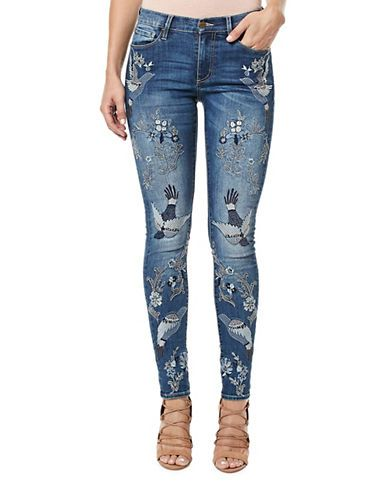 Women | New Arrivals  | Faith Embroidered Mid-Rise Skinny Jeans | Hudson's Bay