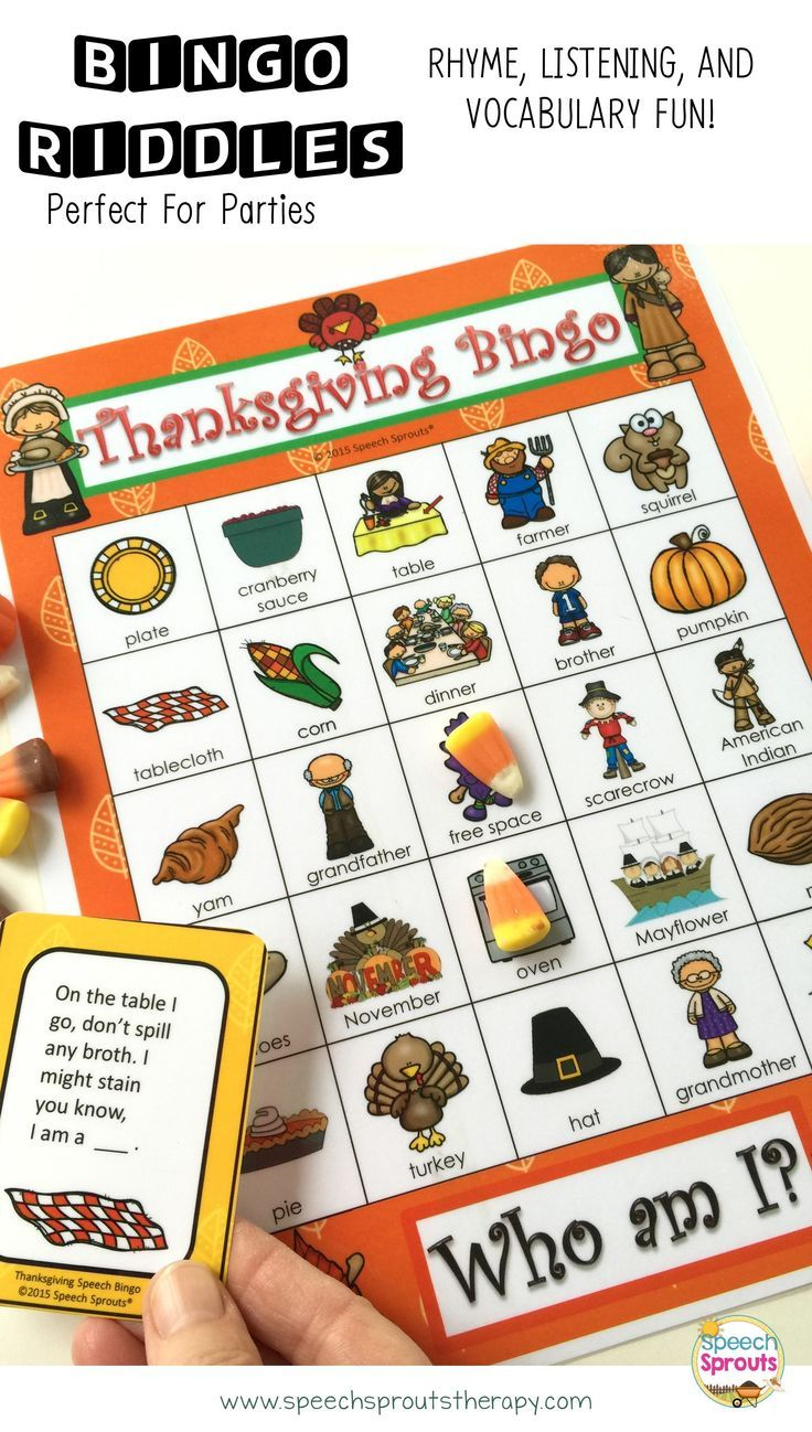 $ Thanksgiving Bingo Riddles- 28 boards for classroom or therapy room  holiday fun! Kids love solving the rhyming riddles to play. Low color options included