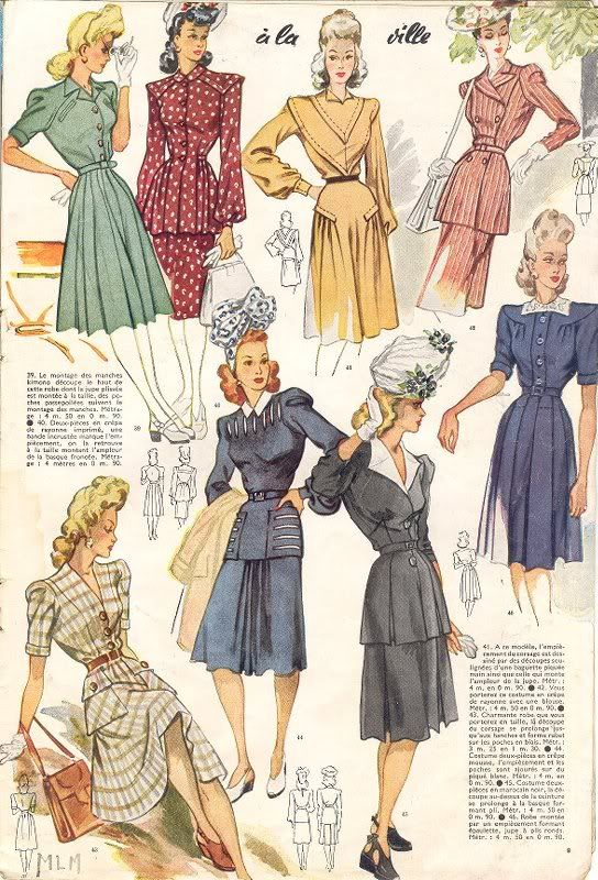 Le Petit Echo de la Mode, 1943 color illustration vintage fashion dress day wear suit jacket skirt black blue pink red white stripe floral tan green early 40s war era