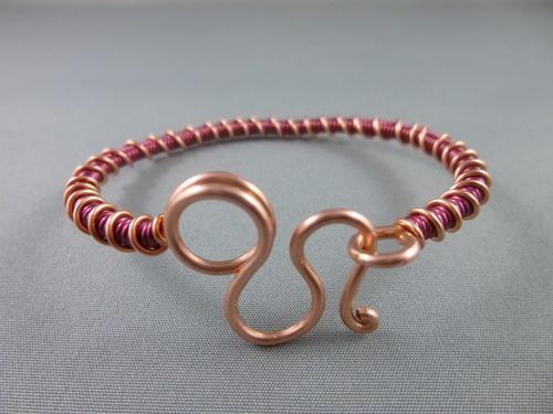 Red and Copper Wire Cuff