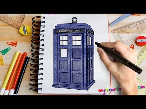 How to draw Tardis from Doctor Who - Easy step-by-step drawing lessons for kids - YouTube