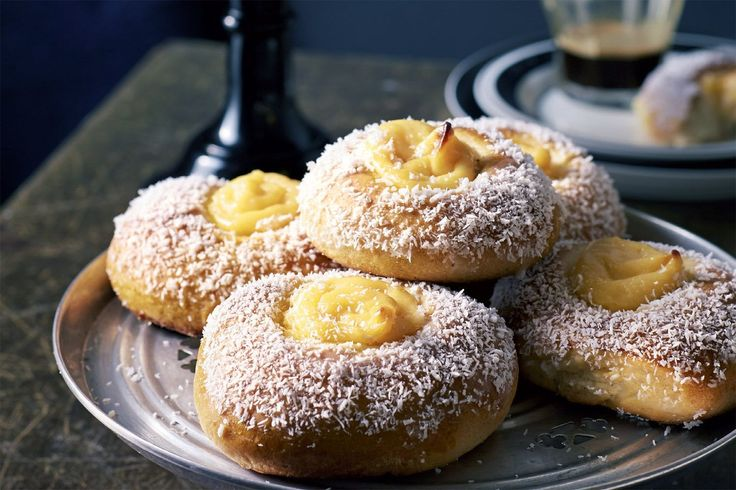 A light dusting of coconut and a sprinkle of cardamom sets these Norwegian custard buns apart from their Australian contemporaries. We love this recipe from Brooklyn Boy Bagels' Michael Shafran.