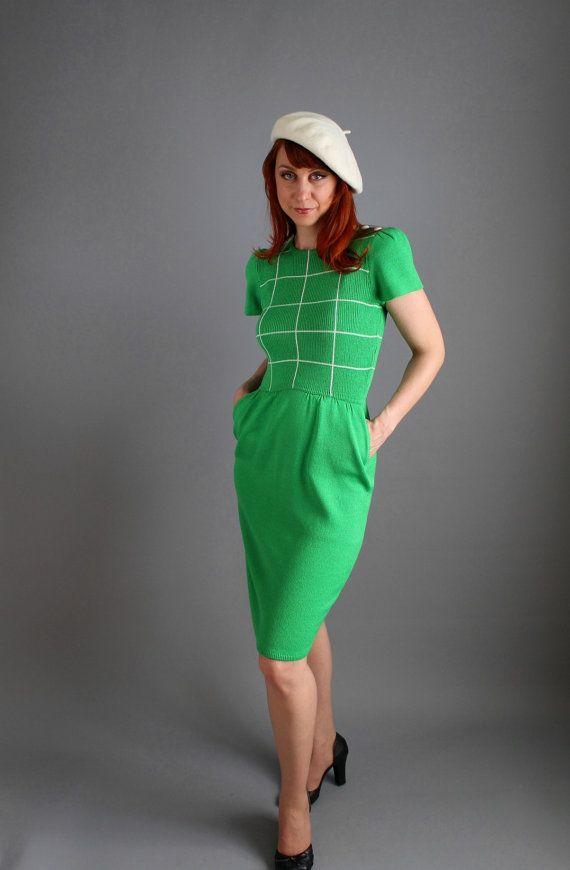 Bright Green St. John Knit Dress