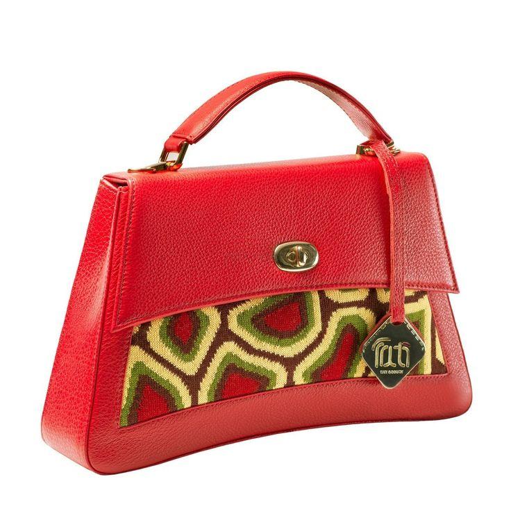 Genuine TATI BODUCH Designer leather Handbag, JASPER Collection, red