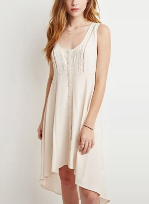Cotton Blends Solid Sleeveless High Low Casual Dresses (1014356) @ floryday.com