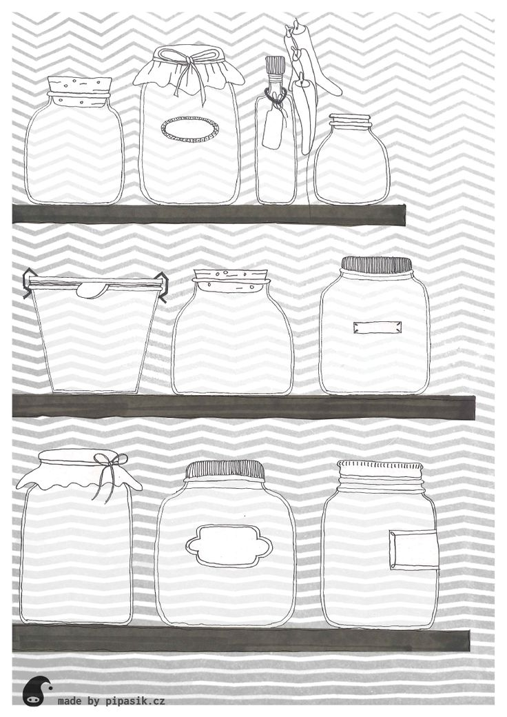 shelves with jugs coloring printables by pipasik