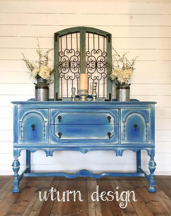 Sold!!! Coastal blue painted buffet, beach cottage sideboard, shabby chic vintage hutch