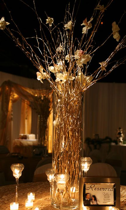 gold branches golden anniversary party anniversary Black and Gold Wedding Centerpiece Ideas Black and Gold Decorating Ideas