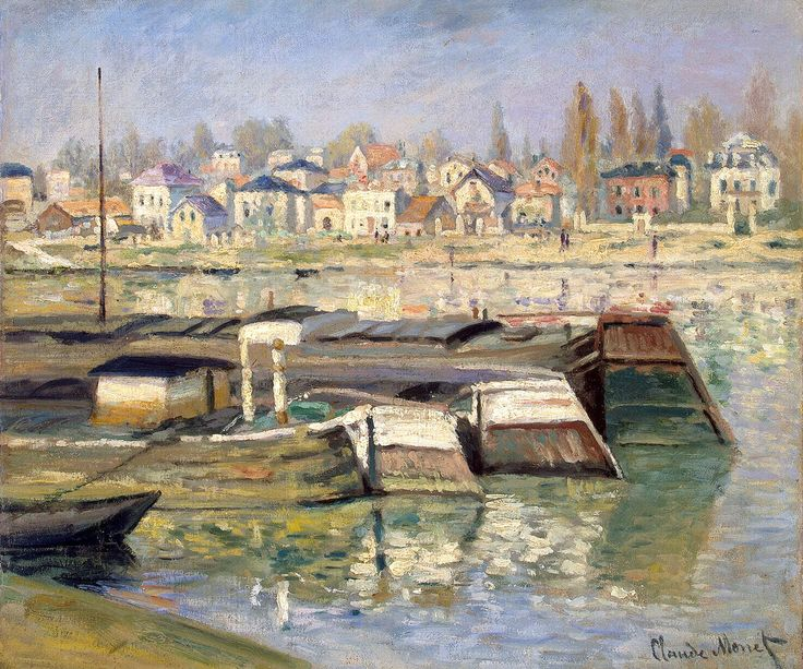 """Claude Monet - Seine at Asnieres (1873) Saint Petersburg, State Hermitage Museum 46,4 x 55,5 cm This painting is not contained in the catalogue raisonné by Daniel Wildenstein. high resolution image  There exists a similiar painting of Monet  (but larger in seize and more oblong or rectangular) with the same title """"La Seine à Asnières"""", which is reported by Daniel Wildenstein under the oeuvre-number W 269 with the dimensions of 55 x 74 cm. This painting is now located in Cologne…"""