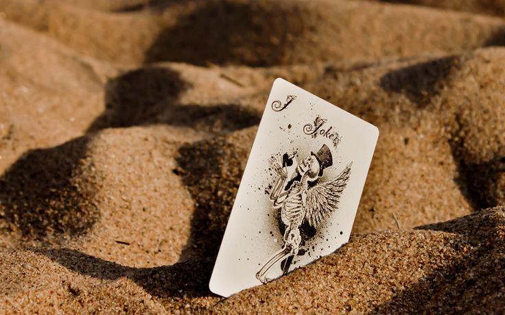 карта, крылья, макро, Песок, скелет, джокер
