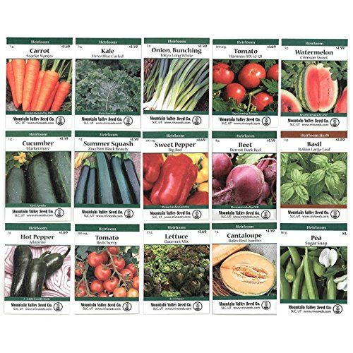 Heirloom Vegetable Garden Seed Collection – Assortment of 15 Non-GMO, Easy Grow, Gardening Seeds: Carrot, Onion, Tomato, Pea, More // Getting ready to plant your garden this Spring?  #gardening #gardeningtips #seeds