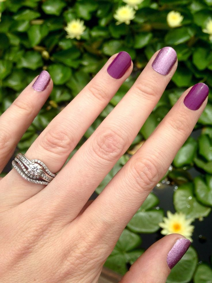 Love this look!  Jamberry nail wraps: Pixie with Boysenberry.  Order online: www.kimd.jamberrynails.net