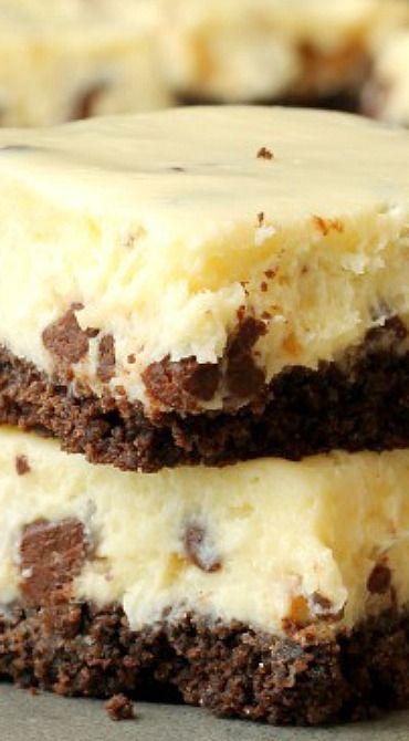 Chocolate Chip Cheesecake Bars with Chocolate Crust