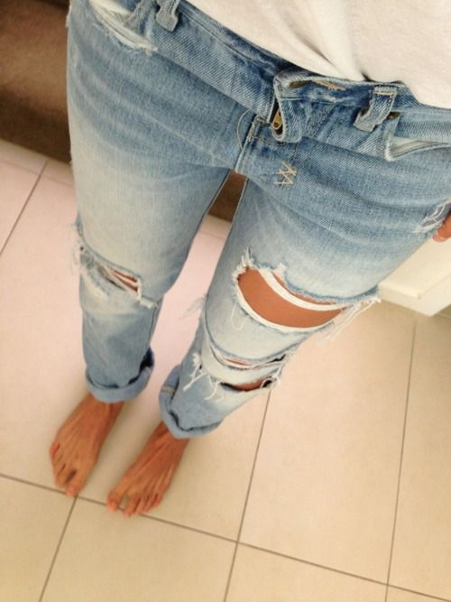 ripped jeans :) Love them!!