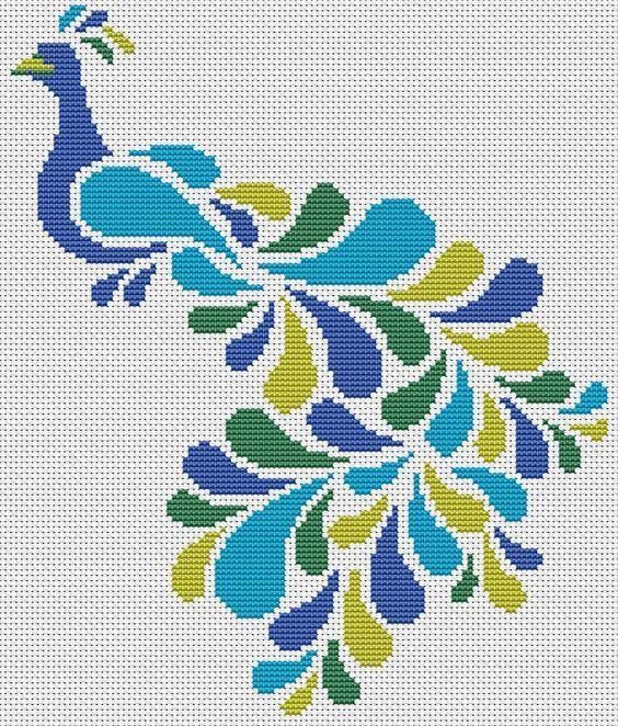 Patrón abstracto de punto de cruz de pavo real, Lisa Fischer, gráfico de punto de cruz de pájaro, 8 …