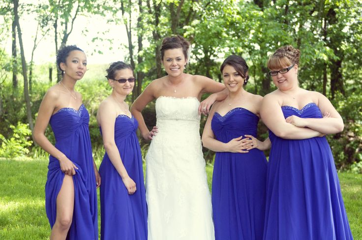 """My Bridesmaids were awesome! the dresses were from Davids bridal, """"regency"""" color, looks blue but is a pretty purple color in person"""