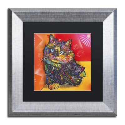 "Trademark Art 'Baby Albert' by Dean Russo Framed Graphic Art Size: 11"" H x 11"" W x 0.5"" D, Matte Color: Black"