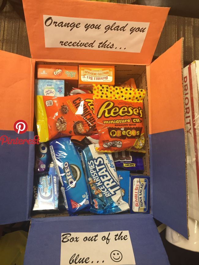 Orange And Blue Theme Missionary Box College Care Package Pinterest Gifts Diy Gifts And Gif Friend Birthday Gifts Boyfriend Gifts 50th Anniversary Gifts
