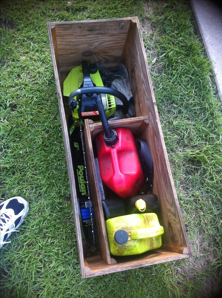 Chainsaw box - courtesy of Dale. Garage, ideas, man cave, workshop, organization, organize, home, house, indoor, storage, woodwork, design, tool, mechanic, auto, shelving, car.