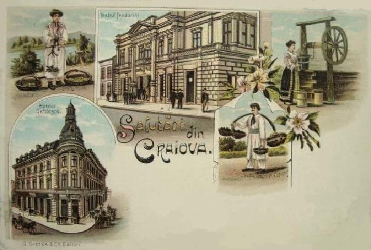 Craiova - Teatrul Teodorini, Hotel Geblescu  anii 1900
