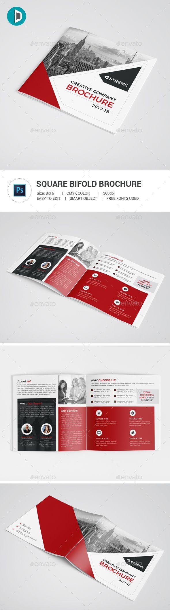 Square Bifold Brochure Template PSD