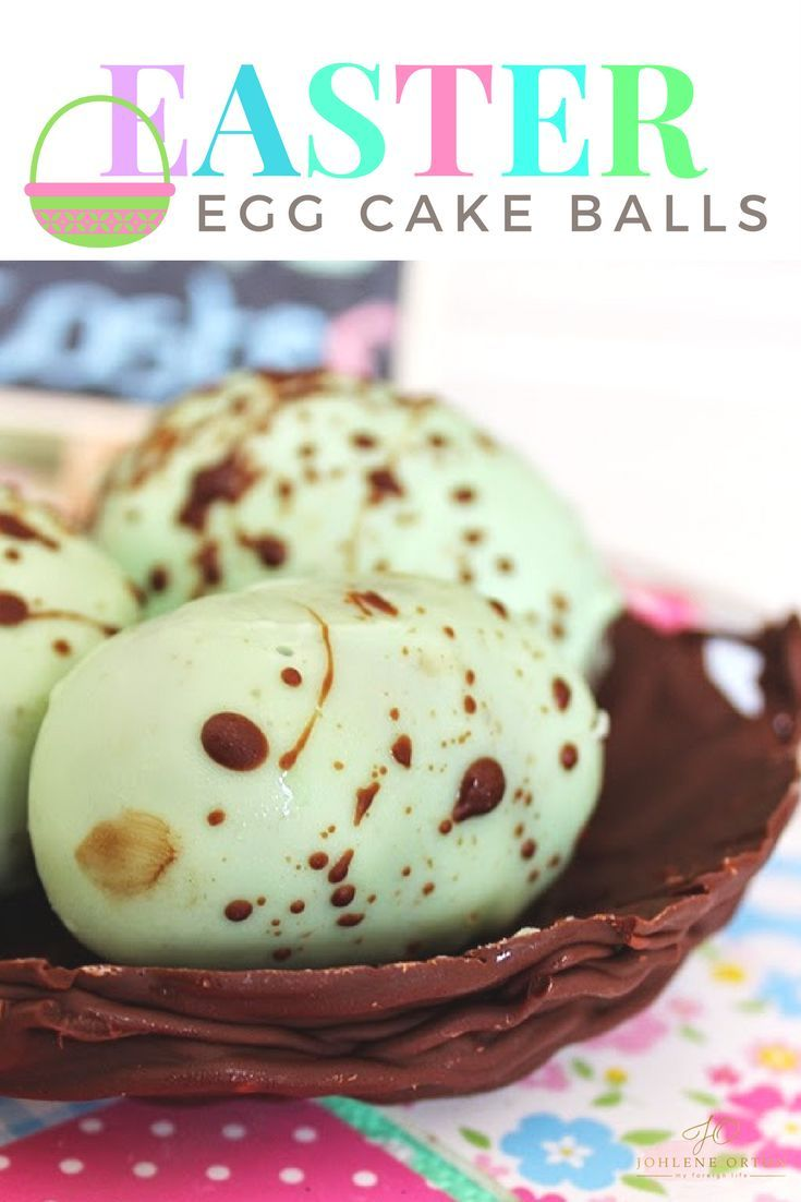 Easter Speckled Egg Cake Balls on top of a homemade chocolate bird´s nest...