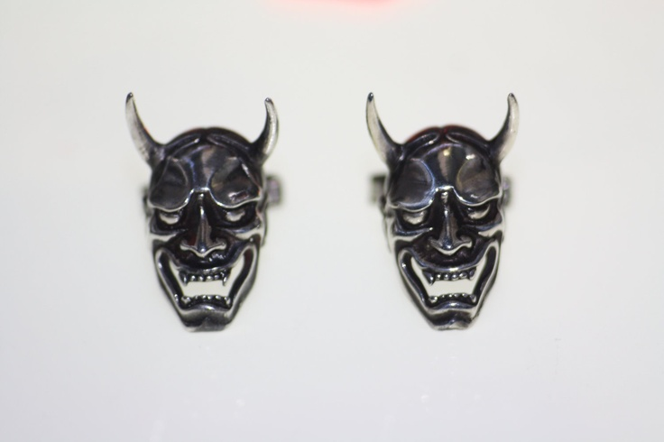 Sterling Silver 925 Cufflinks Hannya Noh Mask Japanese theater Oni. €140.00, via Etsy.