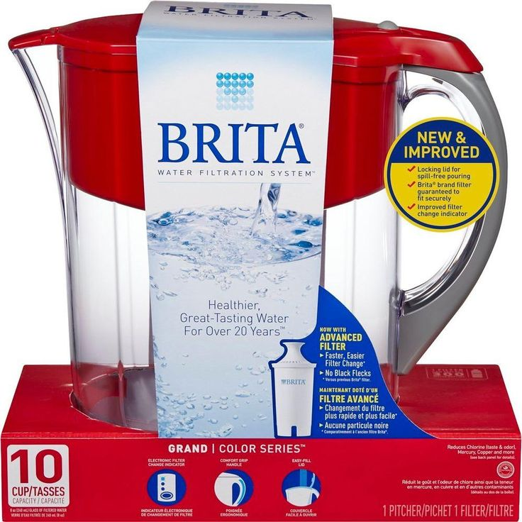 This Brita 10-cup pitcher comes in a cheery red color to brighten up your kitchen. It includes a replaceable filter that removes contaminants so you can enjoy great-tasting water from your tap. Also available in green, violet and orange.