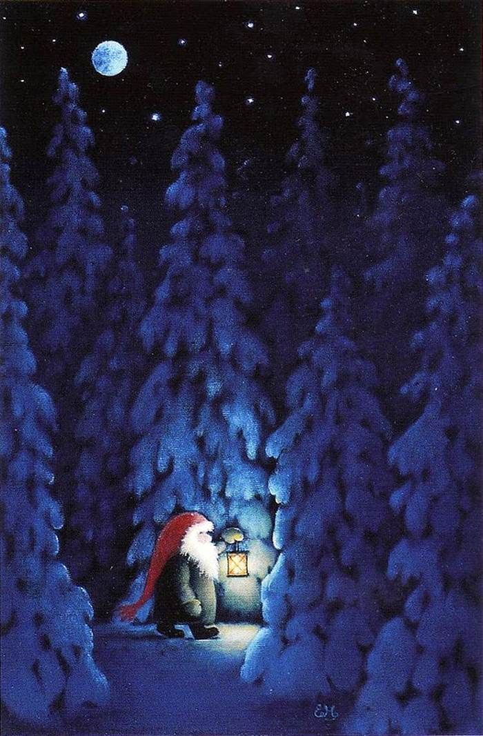 ~ Eva Melhuish Nisse at night in winter forest with a lantern.