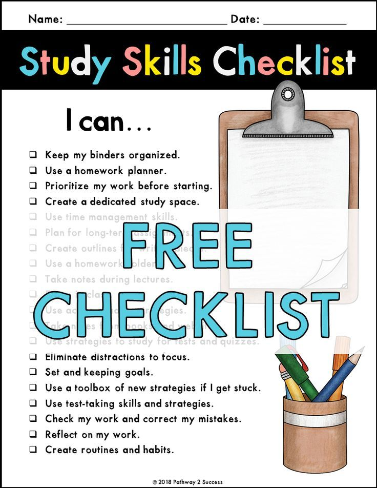 Study Skills Checklist Study Skills Study Skills Worksheets Back To School Organization For Teens