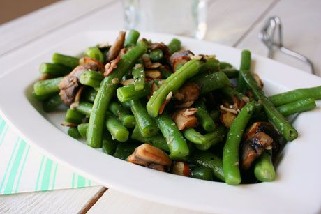 My favorite green beans with mushrooms, almonds, and garlic. Light and fresh.