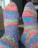 Crocheted socks (Drops)