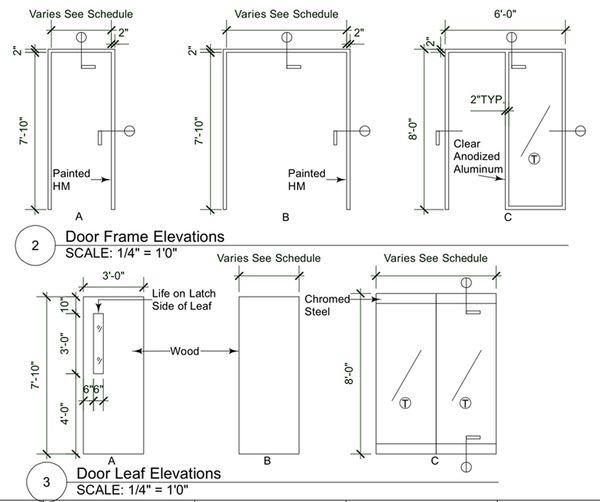 Door Frame and Door Leaf Elevations | Interior Sections ...