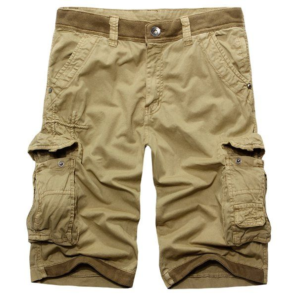 Wholesale Casual Zip Fly Solid Color Multi-Pockets Cargo Shorts For Men Only…