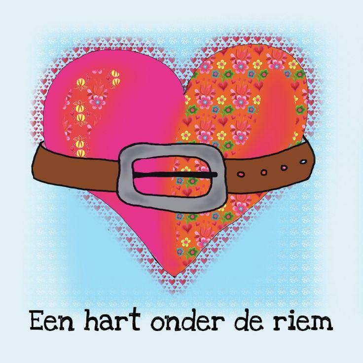 Sterkte kaart hart onder riem, verkrijgbaar bij #kaartje2go voor € 1,99