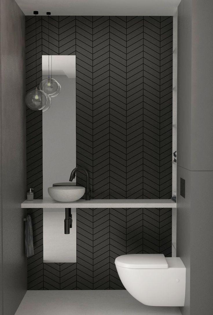 toilet designed in black tiles, Elbląg, Poland