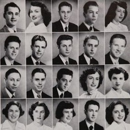 Hair of 1950 - At Beverly Hills high school in California.  #1950 #BeverlyHills #yearbook