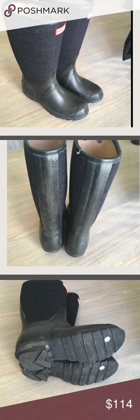 Hunter Navy Rain Boot with Wool Shaft At this price, these boots won't last. These navy wool shaft rain boots are in good used condition. This price is so good, these boots are NOT eligible for an additional bundle discount. Thanks! Hunter Boots Shoes Winter & Rain Boots