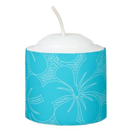 Blue Hibiscus lines Votive Candle - floral style flower flowers stylish diy personalize
