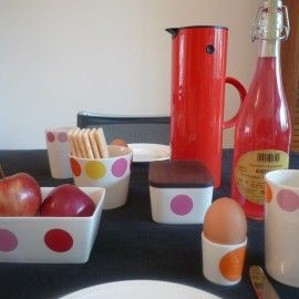 Set of 4 Helbak egg cups - Big Dots: orange and pink